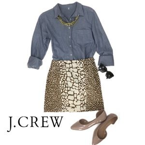 J Crew Python Print Mini Skirt in Olive